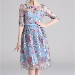 Floral Sheer Overlay Embroidered Dress Blue/Purple
